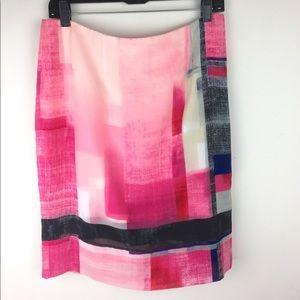 WHBM Colorblock Print Pencil Skirt, 10P, NWT